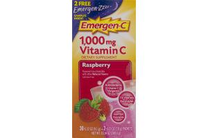 Emergen-C 1000mg Vitamin C Raspberry Fizzy Drink Mix- 30 CT
