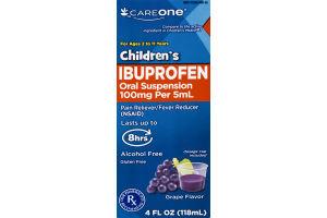 CareOne Children's Ibuprofen Oral Suspension Pain Reliever/Fever Reducer Grape