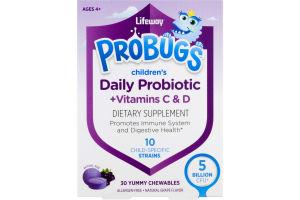 Lifeway ProBugs Children's Daily Probiotic +Vitamin C & D Chewables Grape - 30 CT