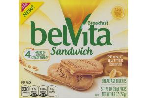 Nabisco belVita Breakfast Sandwich Peanut Butter - 5 PK