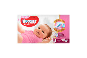 Подгузники для девочек 3 (5-9кг) Ultra Comfort Huggies 112шт