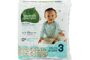 Seventh Generation Free & Clear Diapers Sensitive Skin Size 3 - 31 CT