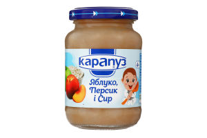 Пюре для дітей від 4міс з яблук, персиків та сиру Карапуз с/б 200г