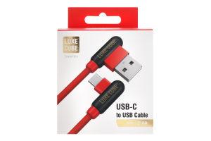 Кабель USB-C T-form 1м червоний Luxe Cube 1шт