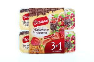 Йогурт Дольче Фруктова корзина Полуниця 3,2% 4*120г х3