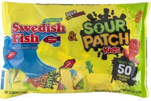 Swedish Fish & Sour Patch Kids Soft & Chewy Candy- 50 CT