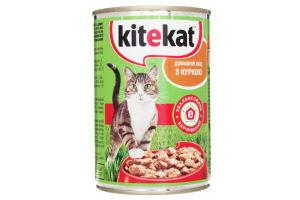 Корм влажный для взрослых котов Домашний обед с курицей Kitekat ж/б 400г