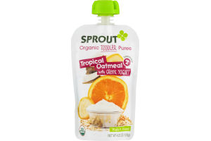 Sprout Organic Toddler Puree Tropical Oatmeal with Greek Yogurt
