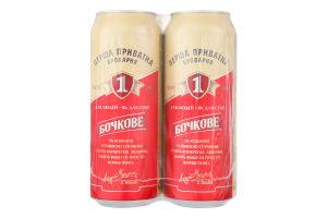 Пиво 4.8% світле фільтроване пастеризоване Бочкове Перша Приватна Броварня з/б 4х0.5л
