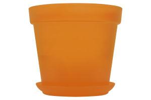Горшок Patio Soft с поддоном оранж пластик d19см