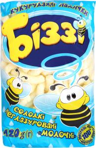 Палочки кукурузные Біззі сладкие неглазир молочные