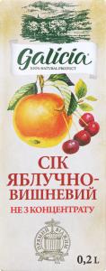 Сік яблучно-вишневий Galicia т/п 0.2л