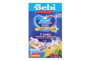 Каша молочна для дітей від 6міс 3 злаки з малиною і мелісою Premium Bebi к/у 200г