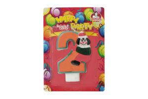 Свічка-цифра для торту з клоуном №2 Happy Party Помічниця 1шт