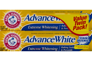 Arm & Hammer Fresh Mint Flavor Advance White Extreme Whitening Stain Defense Value Twin Pack!