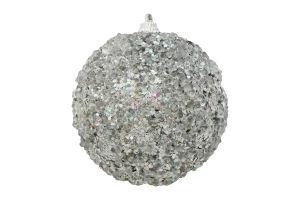 Украшение елочное Шар пенопласт серебряная 8см Y6