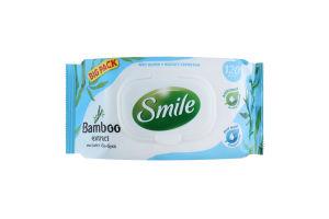 Серветки вологі освіжаючі з екстрактом бамбука Smile 120шт