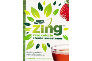 Born Sweet Zing Zero Calorie Stevia Sweetener Packets - 40 CT