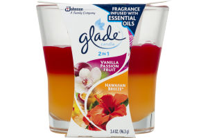 Glade 2 In 1 Candle Vanilla Passion Fruit/Hawaiian Breeze