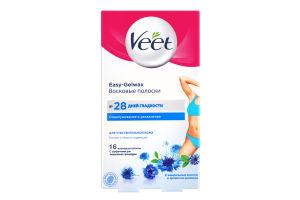 Смужки для депіляції бікіні та пахв воскові для чутливої шкіри Відлущування та зволоження Veet 16шт