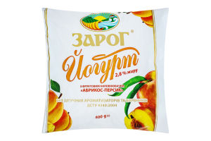 Йогурт 2.8% Абрикос-Персик ЗароГ м/у 400г