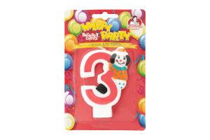 Свічка-цифра для торту з клоуном №3 Happy Party Помічниця 1шт