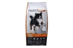 Корм сухий для дорослих собак великих порід зі свіжою куркою і рисом Nutrilove м/у 3кг