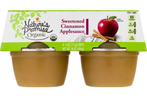Nature's Promise Organic Sweetened Cinnamon Applesauce - 4 CT