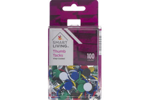Smart Living Thumb Tacks Vinyl Coated - 100 CT