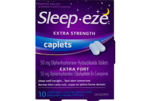 (CN) Sleep-eze Extra Strength Coated Caplets - 10 CT, Sleep-eze Extra Fort Comprimes-Capsules Enrobes - 10 CT