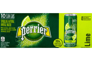 Perrier Sparkling Natural Mineral Water Lime - 10 CT