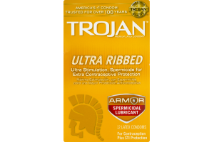 Trojan Stimulations Ultra Ribbed Spermicidal Lubricant Latex Condoms - 12 CT