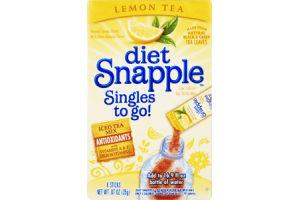 Diet Snapple Singles To Go! Lemon Tea Low Calorie Tea Drink Mix- 8 CT