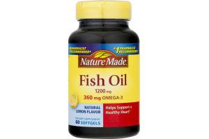 Nature Made Fish Oil Lemon Flavor Softgels - 60 CT