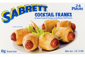 Sabrett Cocktail Beef Franks in All Butter Puff Pastry - 24 PCS