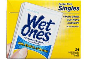 Wet Ones Antibacterial Hand Wipes Pocket Size Singles Citrus Scent - 24 CT