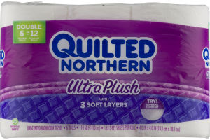 Quilted Northern Ultra Plush With 3 Soft Layers Unscented Bathroom Tissue - 6 CT
