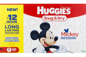 Huggies Snug & Dry Diapers Size 5 - 136 CT