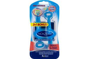 Noxzema Super Smooth-5 Premium 5-Blade Shavers - 4 CT