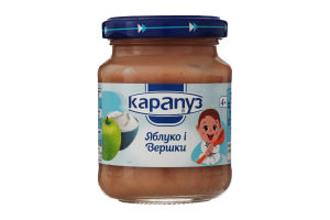 Пюре для детей от 4мес Яблоко и Сливки Карапуз с/б 125г