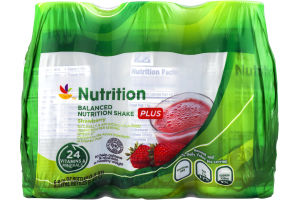 Ahold Nutrition Balanced Nutrition Shake PLUS Strawberry - 6 CT