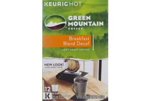 Green Mountain Coffee K Cup Pods Breakfast Blend Decaf - 12 CT
