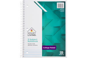 Smart Living 3 Subject Notebook College Ruled 120 Sheets