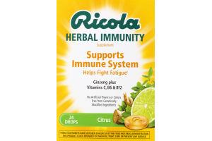 Ricola Herbal Immunity Supplement Citrus - 24 CT