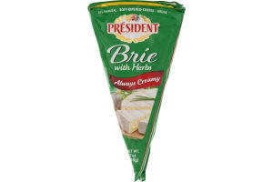 President Brie With Herbs Soft-Ripened Cheese Wedge