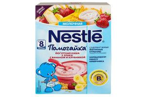 Каша молочная для детей от 8мес Йогуртная 3 злака с бананом и клубникой Помогайка Nestle к/у 200г