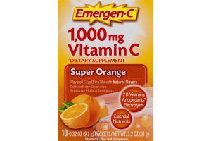 Emergen-C Dietary Supplement Vitamin C Flavored Fizzy Drink Mix Super Orange - 10 CT