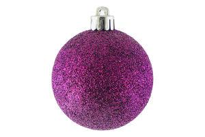 Украшение елочное Шар пласт блестк фиолет 6см D`1