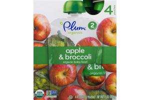 Plum Organics Apple & Broccoli Organic Baby Food Stage 2 - 4 CT