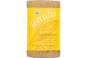 Teatulia Organic Teas Chamomile Herbal Infusion Round Tea Bags - 30 CT